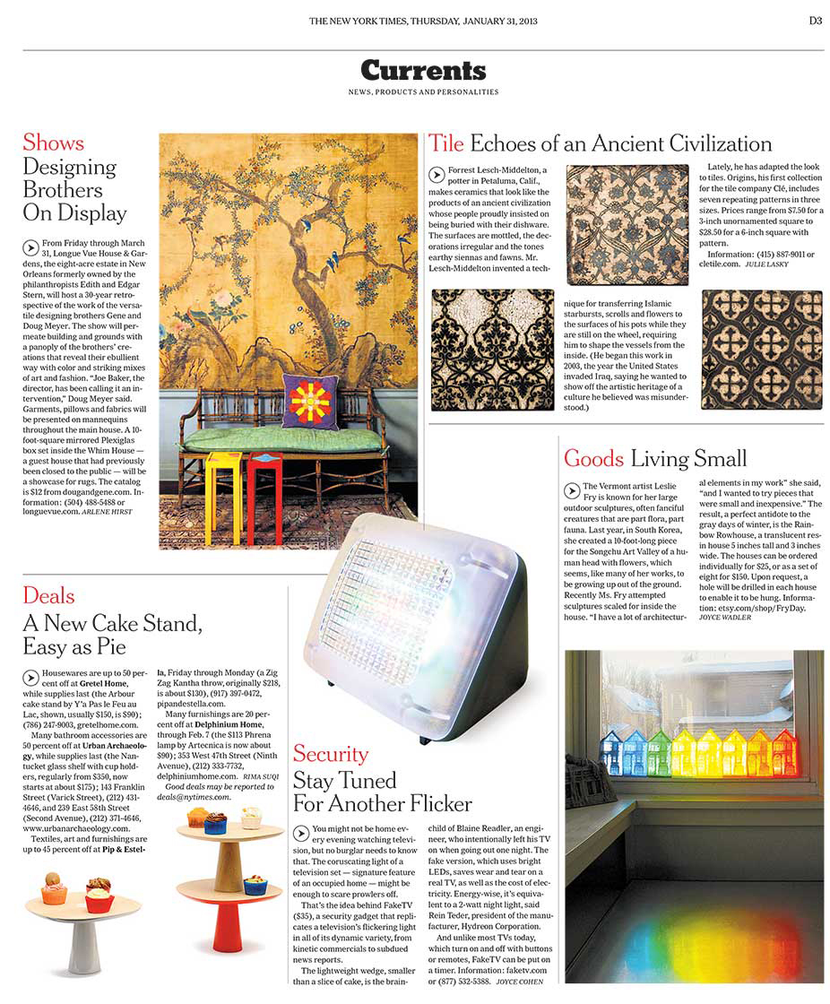 Clé Tile in New York Times January 2013